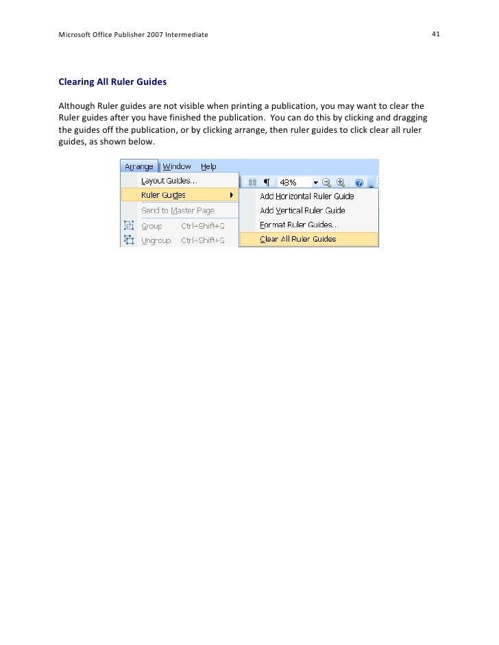 microsoft publisher horizontal ruler guides