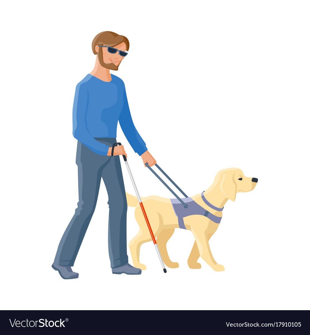 picture of blind man with guide