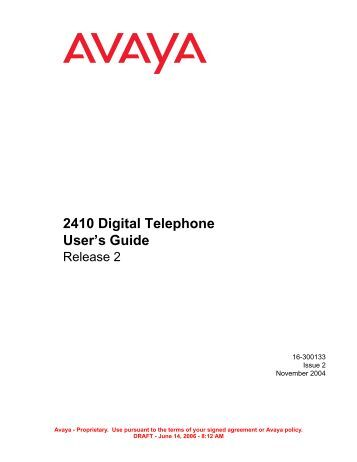 avaya 2420 quick user guide
