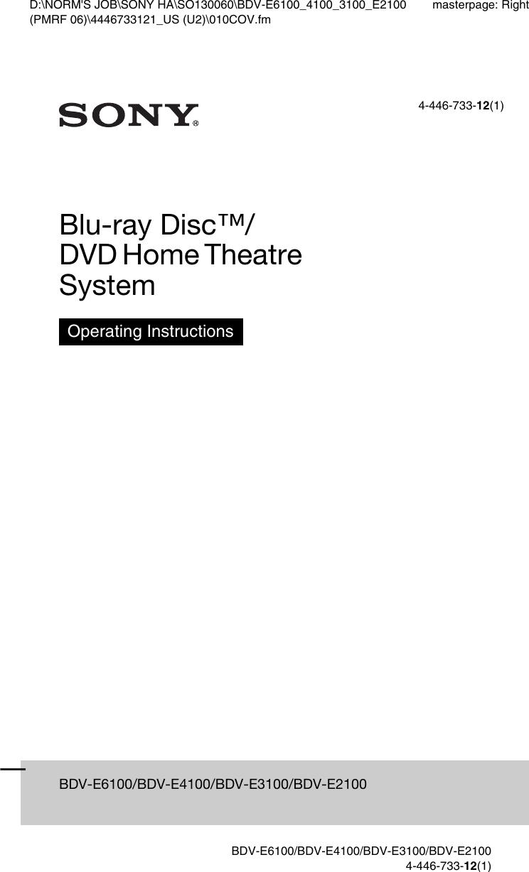 sony bdv e3100 user guide