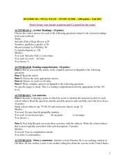 spanish 101 final exam study guide